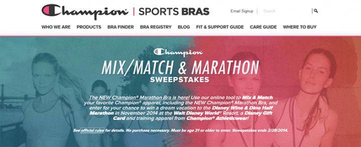 champion sports bras sweepstakes