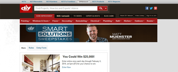 diynetwork.com/smartsolutions – DIY Network's Smart Solutions Sweepstakes
