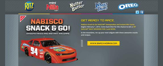 NabiscoRacing.com – Nabisco's Snack & Go! NASCAR Race Sweepstakes & Instant Win Game