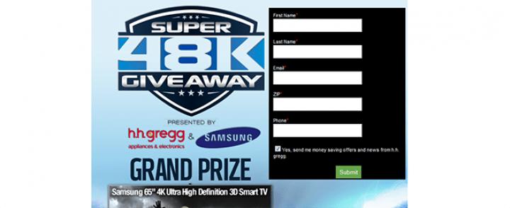 hhgregg.com/Super48K – Super 48K Giveaway presented by h.h. gregg and Samsung