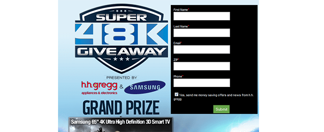 hhgregg.com/Super48K – Super 48K Giveaway presented by h.h. gregg and Samsung