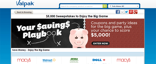 valpak.com/biggame – The Valpak $5,000 Sweepstakes