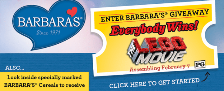BarbarasGiveaway.com – Barbara's THE LEGO MOVIE Giveaway Digital Sweepstakes