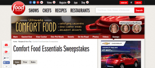 confort food sweepstakes