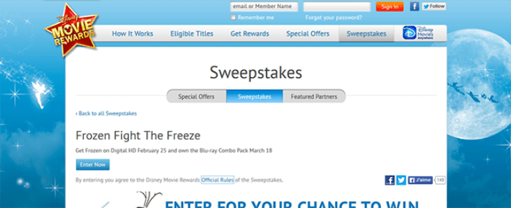 frozen fight sweepstakes