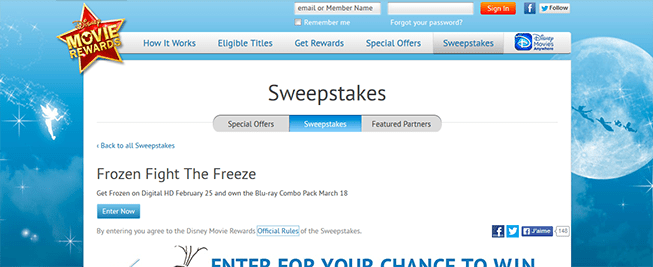 disneymovierewards.com/hula – Disney Frozen Fight The Freeze Sweepstakes