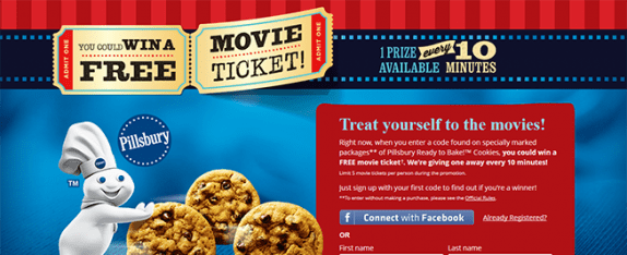 PillsburyMovieTicket.com – Pillsbury Ready to Bake! Cookies Movie Ticket Instant Win Game