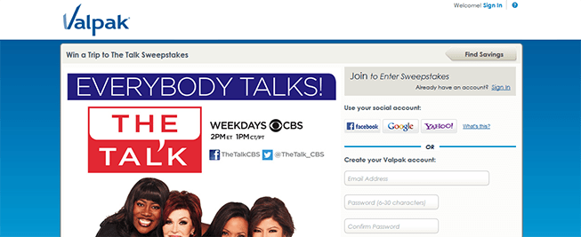 valpak.com/cbs – Win a Trip to The Talk Sweepstakes