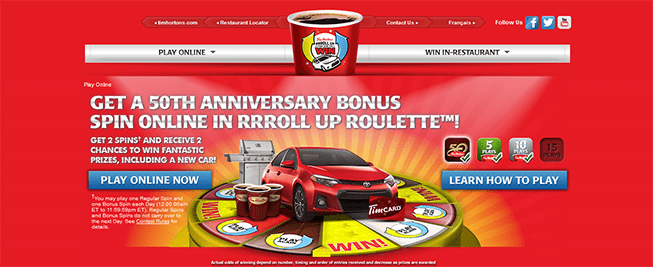 rolluptherimtowin.com – RRRoll Up Roulette Online Contest at Tim Hortons