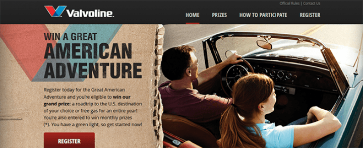 valvolinetrip.com – The Valvoline Great American Adventure Sweepstakes