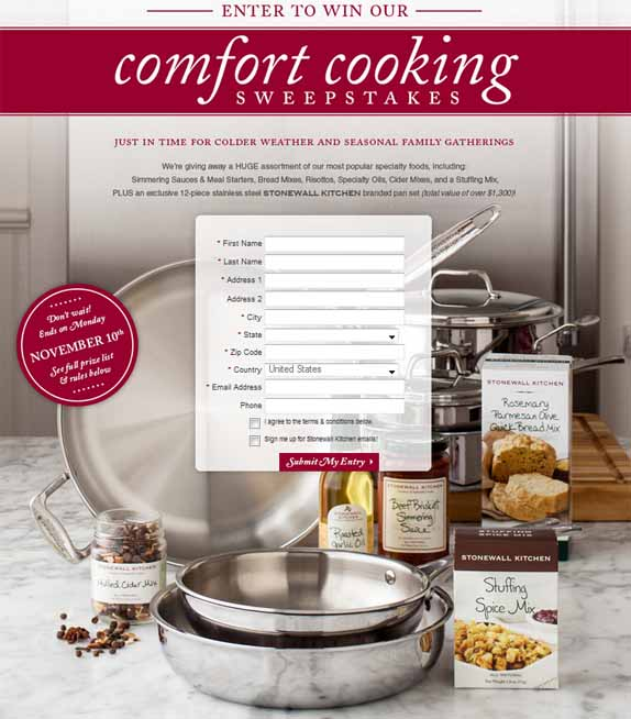 Stonewall Kitchen Comfort Cooking Sweepstakes Freeples