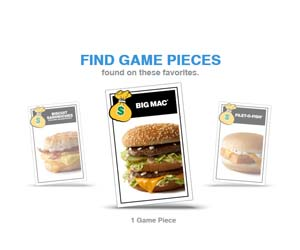 Find Game Pieces at McDonalds
