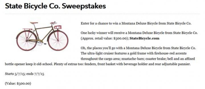 state bicycle co sweepstakes