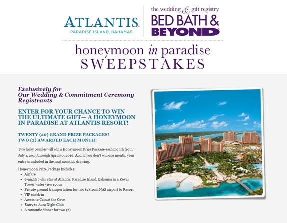bed bath and beyond gift registry bedbathandbeyond honeymoon in paradise sweepstakes 13147