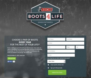 Rocky Boots For Life Sweepstakes