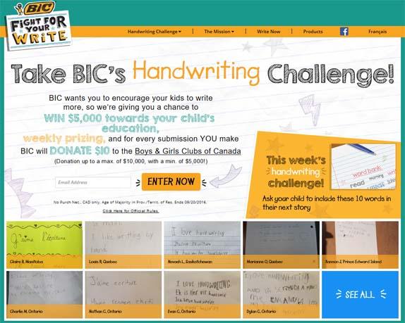 BIC's Handwriting Challenge Promotion Contest