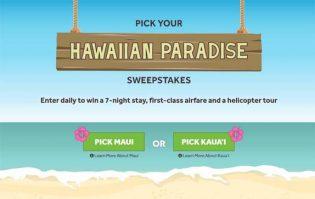 Pick your Hawaiian Paradise Sweepstakes