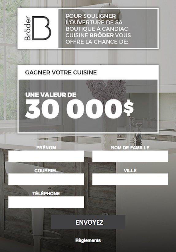 Concours Cuisine Bröder Gagnez votre cuisine d'une valeur de 30 000$