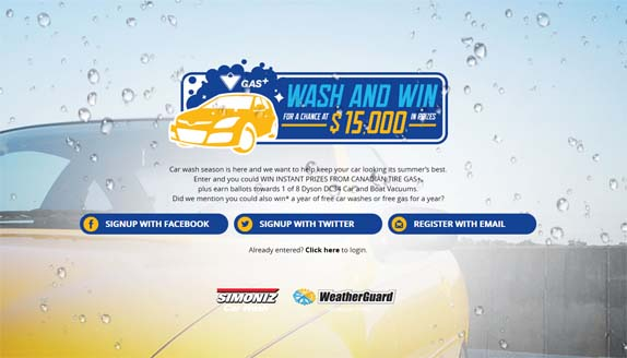 Canadian Tire Gas+ Wash and Win Contest