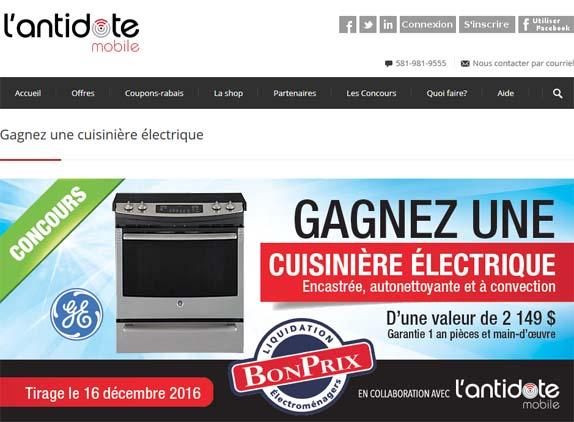 Concours L'antidote mobile Gagnez une cuisinière électrique encastrée, autonettoyante et à convection