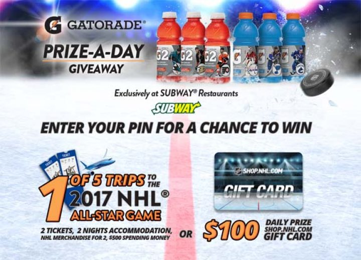 gatorade subway contest
