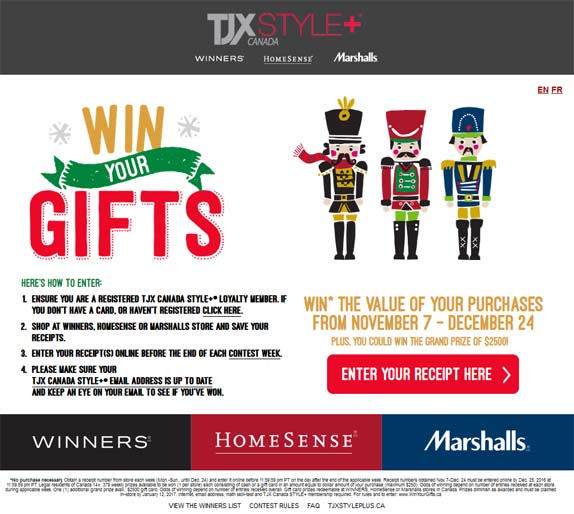 Winners, Marshalls, HomeSense – Win Your Gifts Contest
