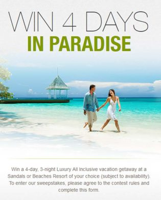 Sandals and Beaches Giveaway Q1 Sweepstakes