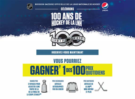 100PrixParJour.com – Concours Pepsi Célébrons 100 ans de hockey de la LNH chez Subway