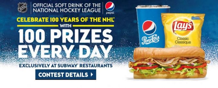 100PrizesADay com Pepsi 100 Years of NHL Hockey SUBWAY | Sweepstakes PIT