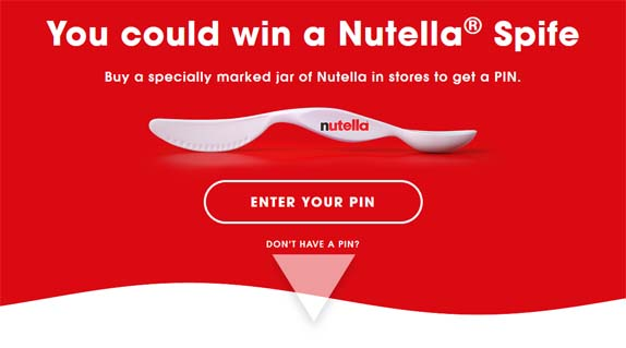 Nutella Spife Instant Win Contest