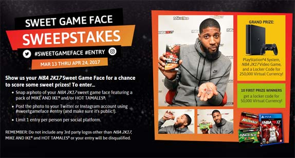 Mike and Ike and Hot Tamales Sweet Game Face Sweepstakes