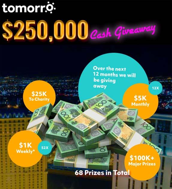 ROKT & Tomorro's $250k Cash + Charity Giveaway