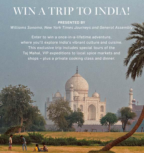 Williams Sonoma Win a Trip to India Sweepstakes