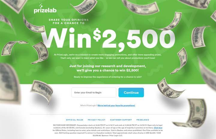 prizelab cash sweepstakes