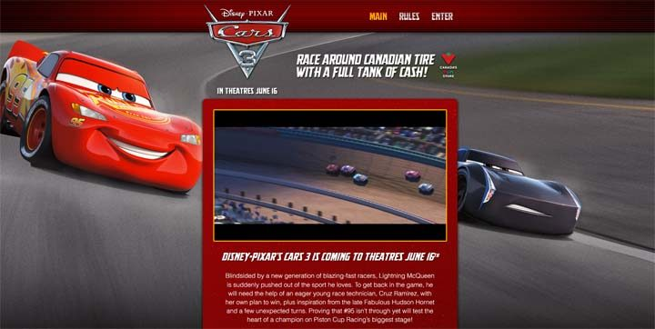 canadian tire ytv cars 3 contest