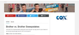 cox hgtv brother vs brother sweepstakes
