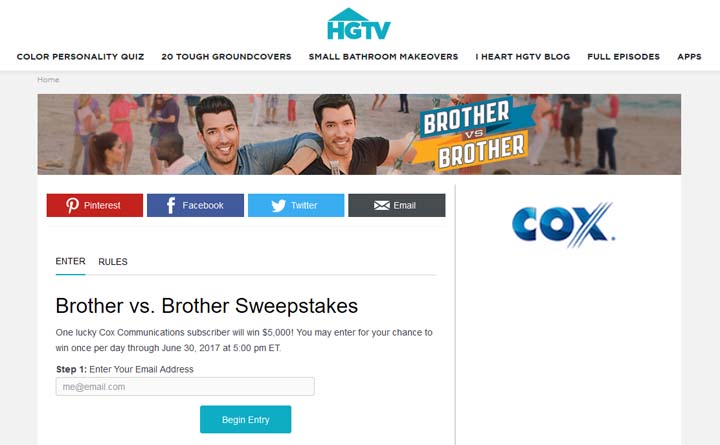 HGTV Brother vs. Brother Sweepstakes