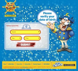 QUAKER CAP'N CRUNCH Crunch Spin You Could Win Instant-Win