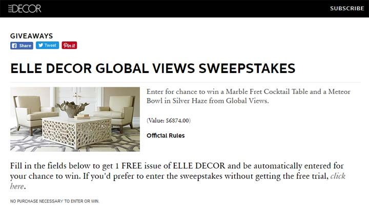 elle decor sweepstakes
