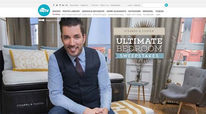 HGTV Stearns & Foster Ultimate Bedroom Sweepstakes