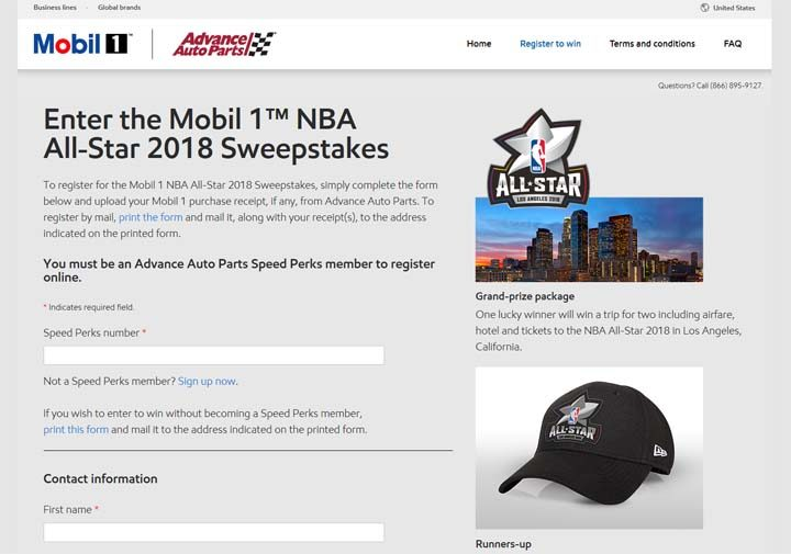 mobil 1 all stars sweepstakes