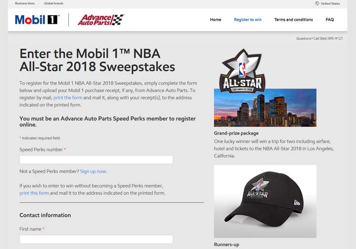 Mobil 1 NBA All-Star Sweepstakes