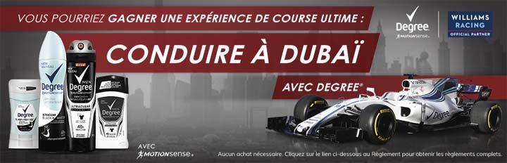 Concours Degree Gagner une expérience de course ultime à Dubaï