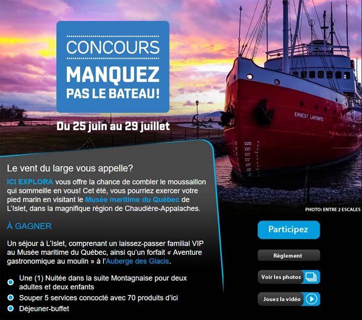 Concours ICI Explora Manquez pas le bateau