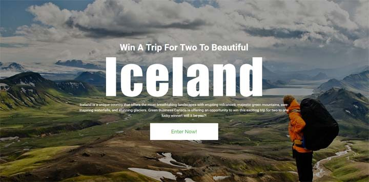 Green Business Canada Win a Trip for two to beautiful Iceland Contest