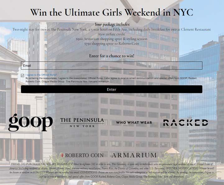 Girls Weekend in NYC Sweepstakes