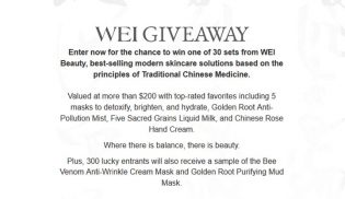 Wei Beauty Product Giveaway
