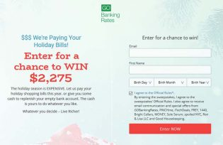$$ We're Paying Your Holiday Bills! Sweepstakes