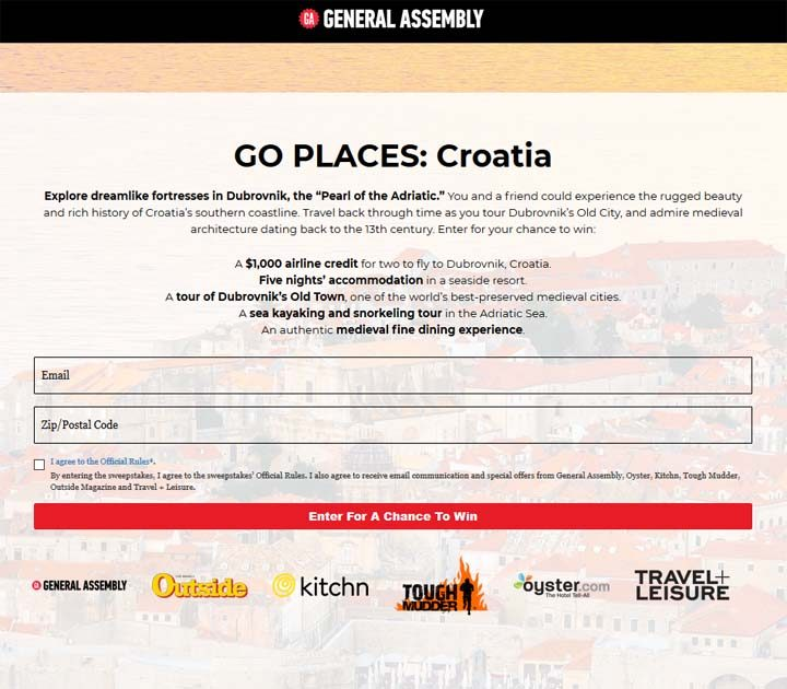 General Assembly GO PLACES: Croatia Sweepstakes