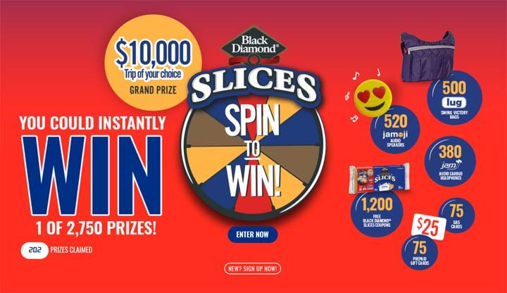 Black Diamond Cheese Slices Spin To Win Contest